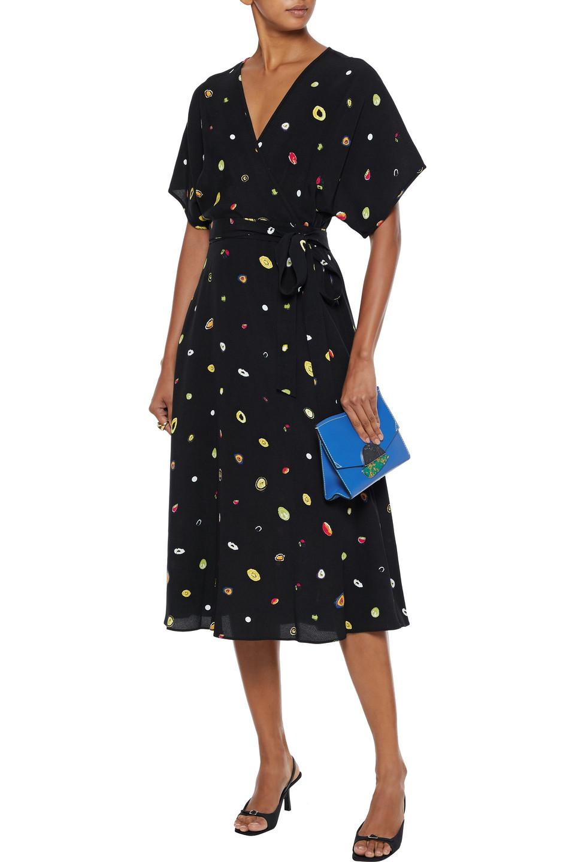 Diane Von Furstenberg | Diane Von Furstenberg Woman Kelsey Printed Crepe Midi Wrap Dress Black | Clouty