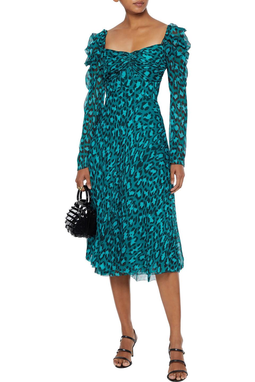 Diane Von Furstenberg   Diane Von Furstenberg Woman Lilith Cold-shoulder Leopard-print Silk-georgette Midi Dress Emerald   Clouty
