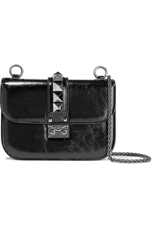 Valentino Garavani | Valentino Garavani Woman Rockstud Lock Crinkled Patent-leather Shoulder Bag Black | Clouty