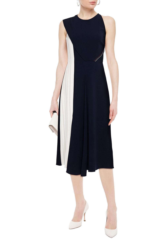 Roland Mouret | Roland Mouret Woman Asymmetric Pleated Stretch-crepe Midi Dress Navy | Clouty