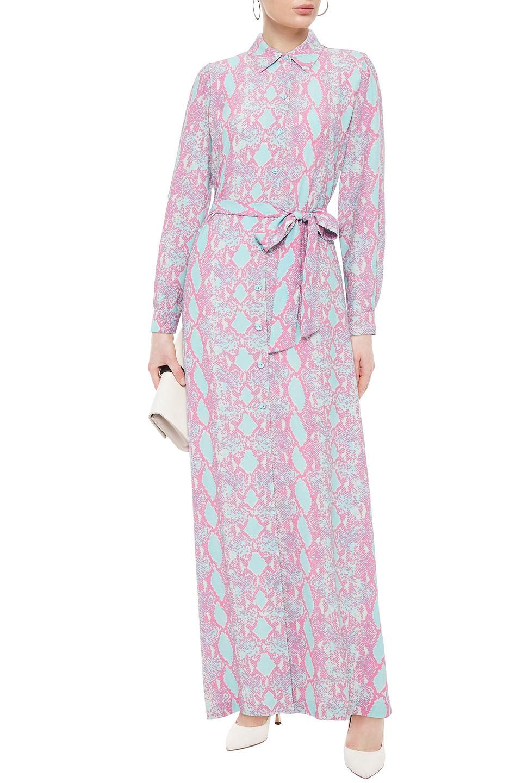 Diane Von Furstenberg | Diane Von Furstenberg Woman Amina Printed Crepe Maxi Shirt Dress Baby Pink | Clouty