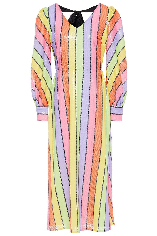 OLIVIA RUBIN | Olivia Rubin Woman Thora Sequined Striped Georgette Midi Dress Multicolor | Clouty
