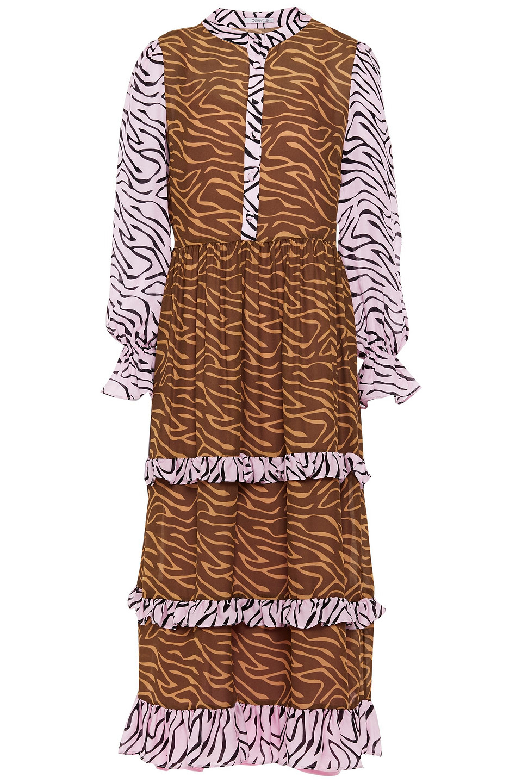 OLIVIA RUBIN | Olivia Rubin Woman Florence Ruffle-trimmed Printed Silk Midi Dress Animal | Clouty