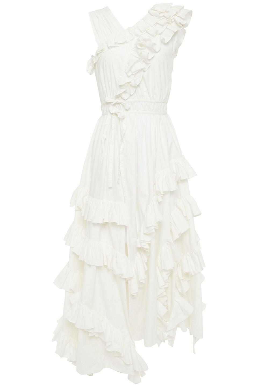 Ulla Johnson | Ulla Johnson Woman Asymmetric Ruffled Cotton-poplin Midi Dress White | Clouty