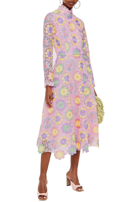 OLIVIA RUBIN | Olivia Rubin Woman Lola Floral-appliqued Guipure Lace Midi Dress Baby Pink | Clouty