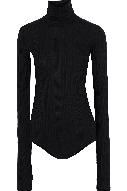 MM6 Maison Margiela   Mm6 Maison Margiela Woman Ribbed Jersey Turtleneck Bodysuit Black   Clouty