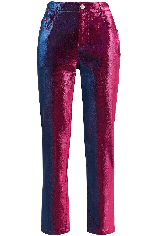 Area | Area Woman Lurex Straight-leg Pants Fuchsia | Clouty