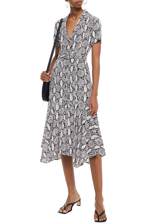 A.L.C.   A.l.c. Woman Belted Snake-print Silk Midi Dress Animal Print   Clouty