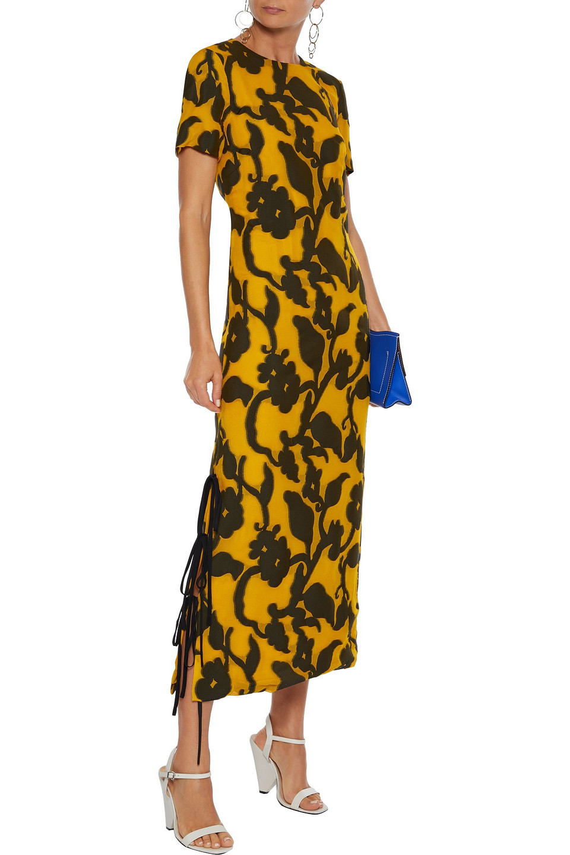 Prabal Gurung | Prabal Gurung Woman Printed Woven Midi Dress Saffron | Clouty