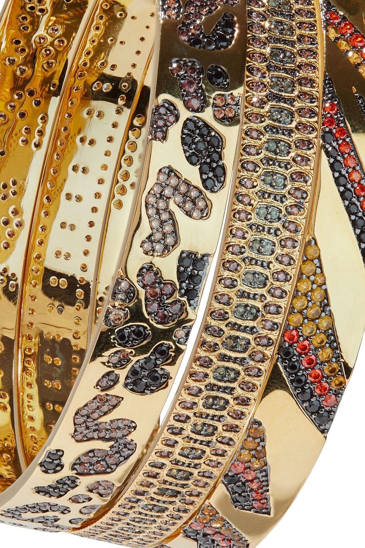 Noir Jewelry | Noir Jewelry Woman Set Of Three 14-karat Gold-plated Crystal Bangles | Clouty