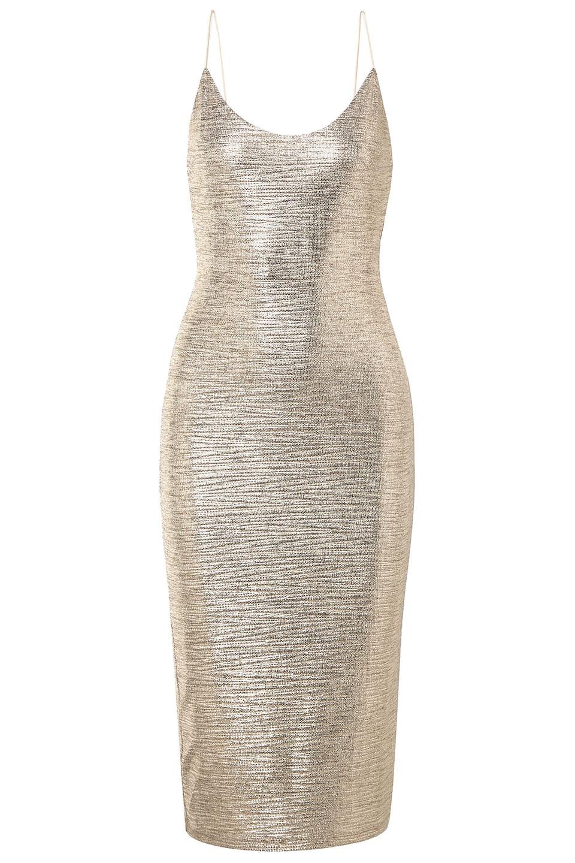 Alice + Olivia | Alice + Olivia Woman Delora Textured-lame Midi Dress Gold | Clouty