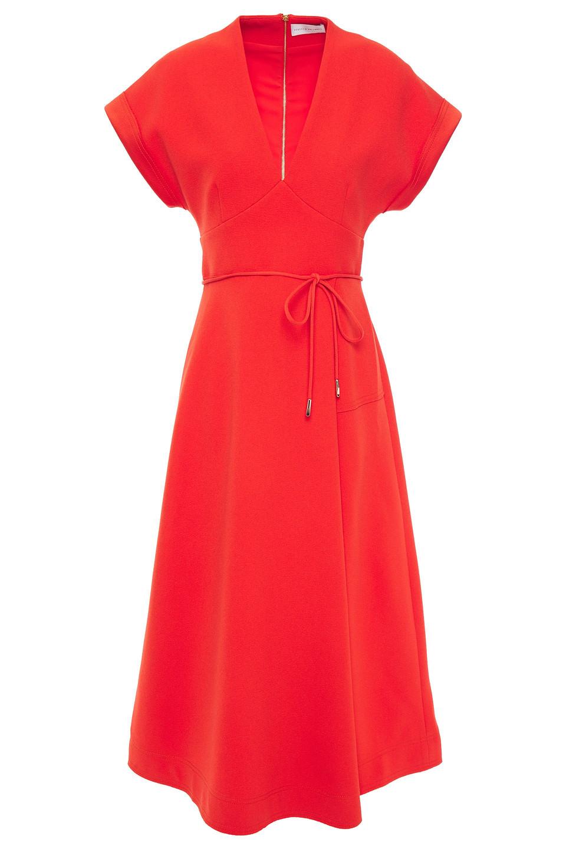Rebecca Vallance | Rebecca Vallance Woman Pleated Crepe Midi Dress Bright Orange | Clouty