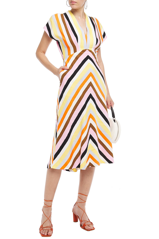 Rebecca Vallance | Rebecca Vallance Woman Striped Linen-blend Midi Dress Multicolor | Clouty