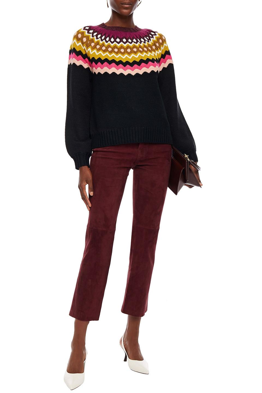 Joie | Joie Woman Wool-blend Jacquard Sweater Black | Clouty