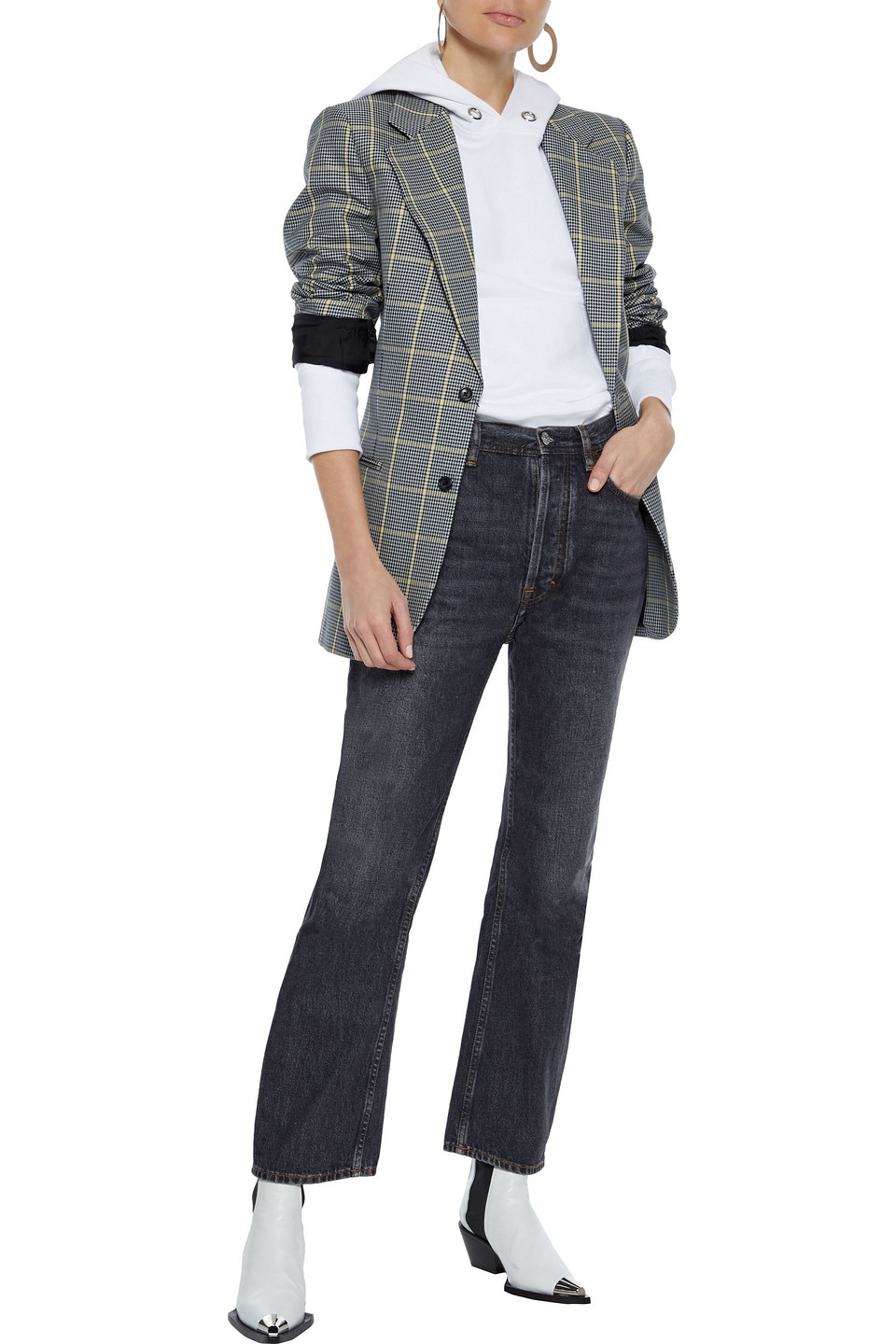 Acne Studios | Acne Studios Woman Distressed High-rise Straight-leg Jeans Charcoal | Clouty