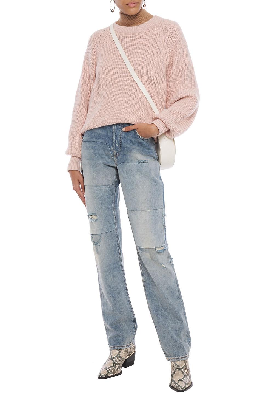 Acne Studios   Acne Studios Woman Distressed Patchwork High-rise Straight-leg Jeans Mid Denim   Clouty