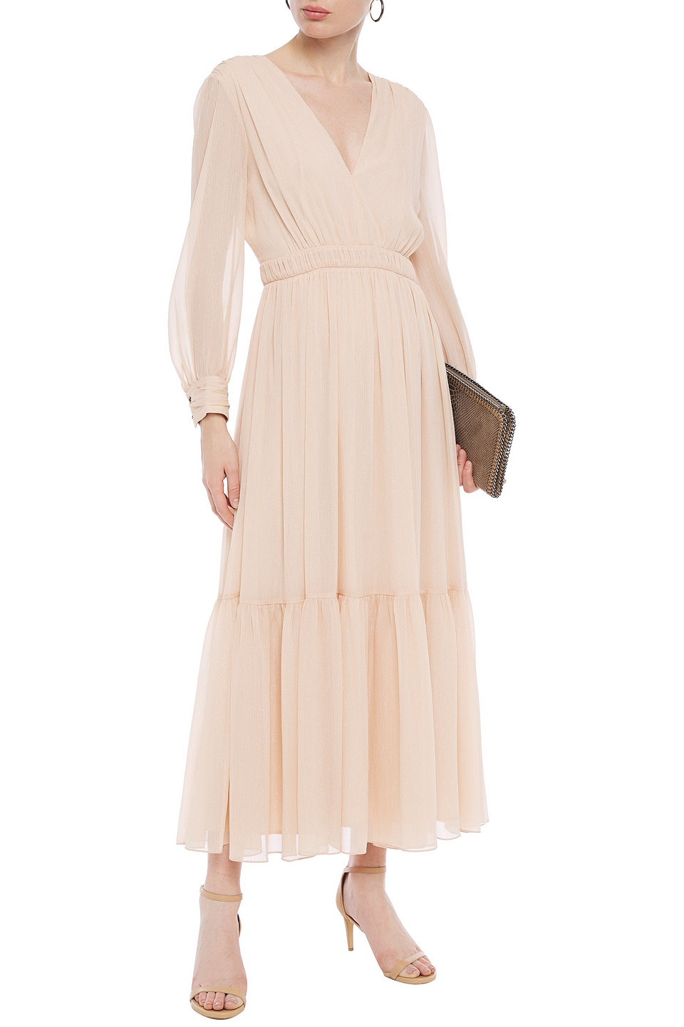 Sandro | Sandro Woman Chaireen Gathered Metallic Georgette Maxi Dress Peach | Clouty