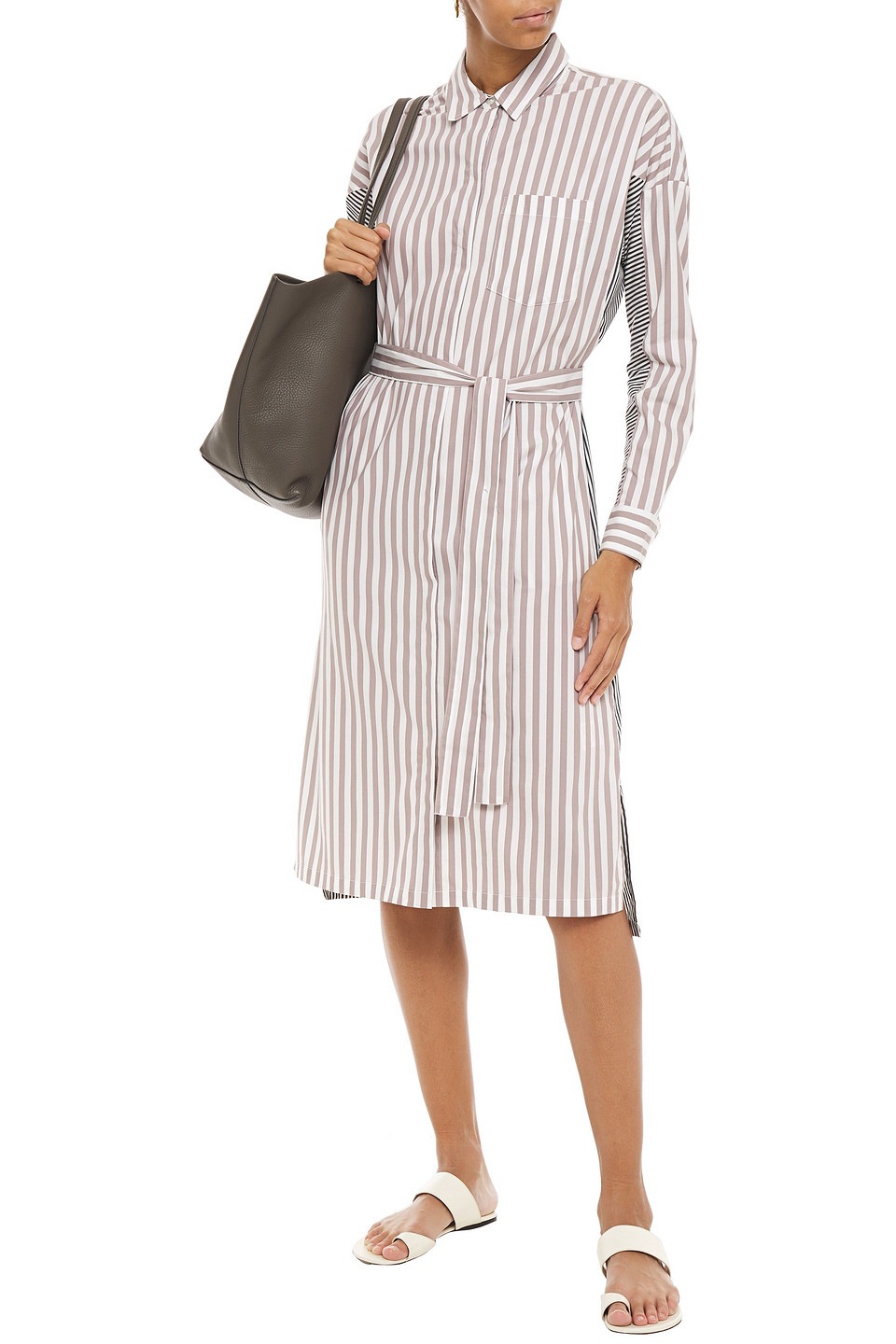 DKNY | Dkny Woman Paneled Striped Cotton-blend Poplin Midi Shirt Dress White | Clouty