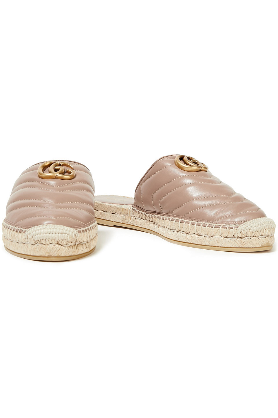 GUCCI | Gucci Woman Logo-appliqued Quilted Leather Espadrille Slippers Mushroom | Clouty