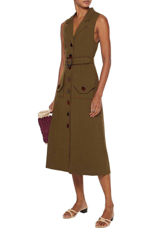 Nicholas | Nicholas Woman Belted Twill Midi Dress Army Green | Clouty