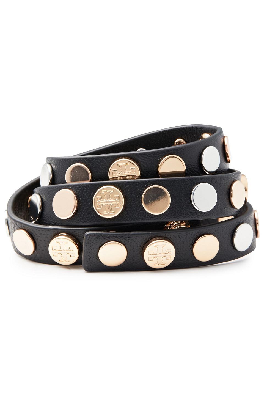 Tory Burch | Tory Burch Woman Studded Leather Wrap Bracelet Black | Clouty
