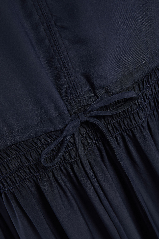 James Perse | James Perse Woman Shirred Silk Midi Dress Midnight Blue | Clouty