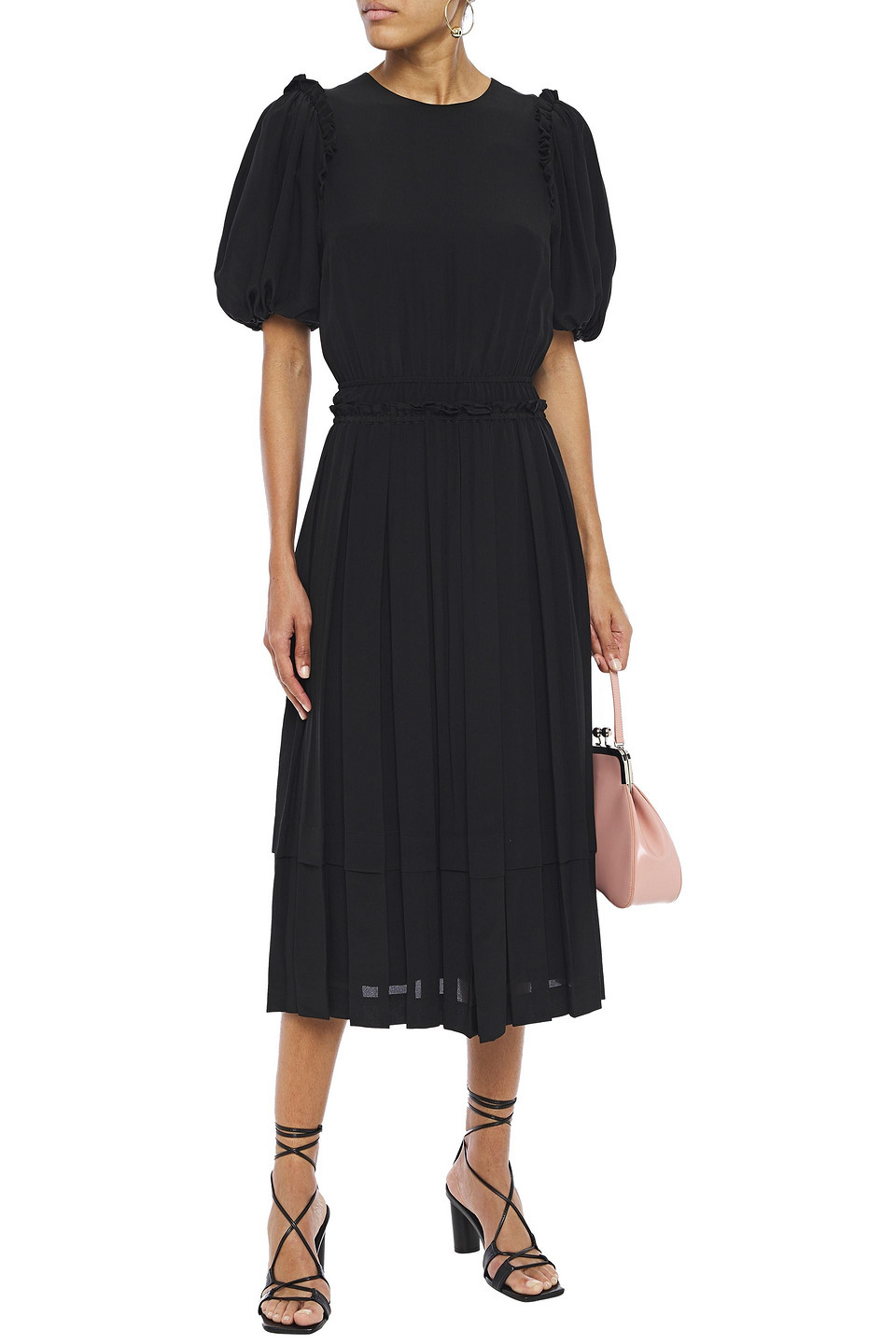 SIMONE ROCHA | Simone Rocha Woman Ruffled Pleated Silk Crepe De Chine Midi Dress Black | Clouty