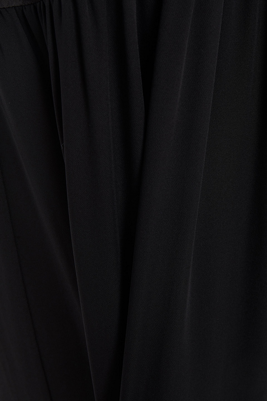 Theory | Theory Woman Shirred Hammered-satin And Silk-crepe Midi Dress Black | Clouty
