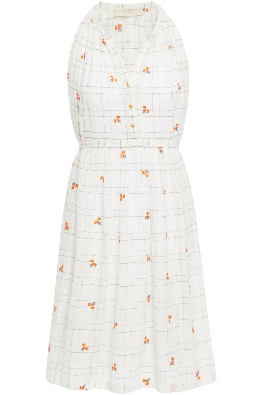 Vanessa Bruno | Vanessa Bruno Woman Embroidered Checked Cotton And Lurex-blend Mini Dress Ecru | Clouty
