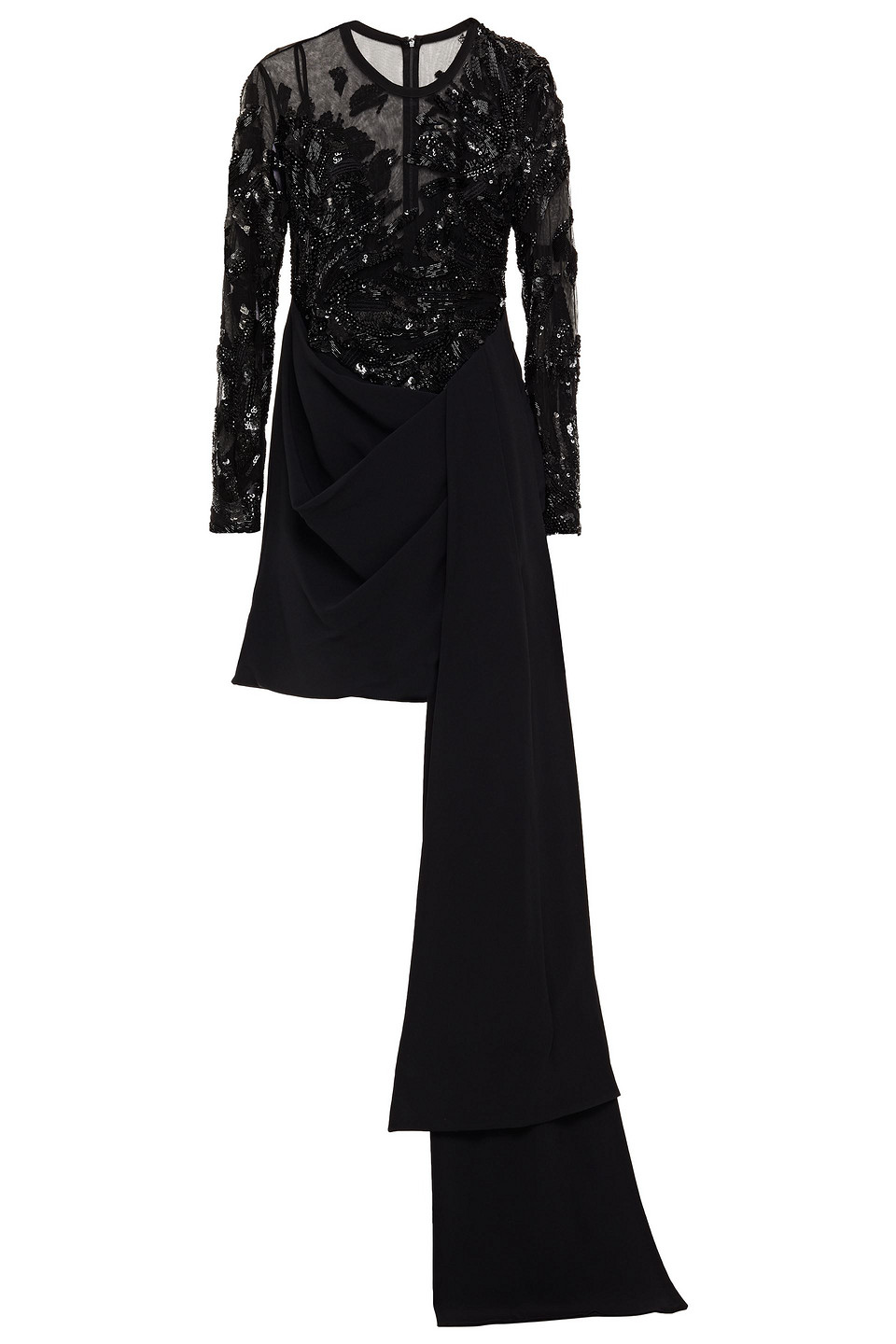 Elie Saab | Elie Saab Woman Embellished Tulle-paneled Draped Crepe Mini Dress Black | Clouty