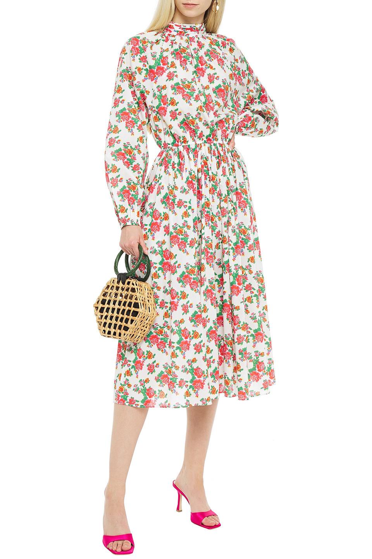 RHODE   Rhode Woman Mai Gathered Floral-print Cotton-poplin Midi Dress White   Clouty