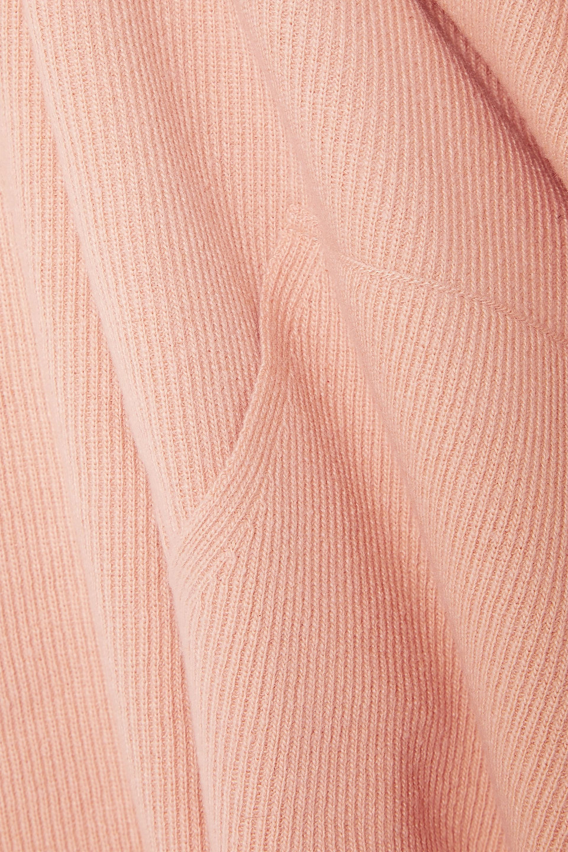 Nanushka   Nanushka Woman Mog Cropped Ribbed-knit Hoodie Peach   Clouty