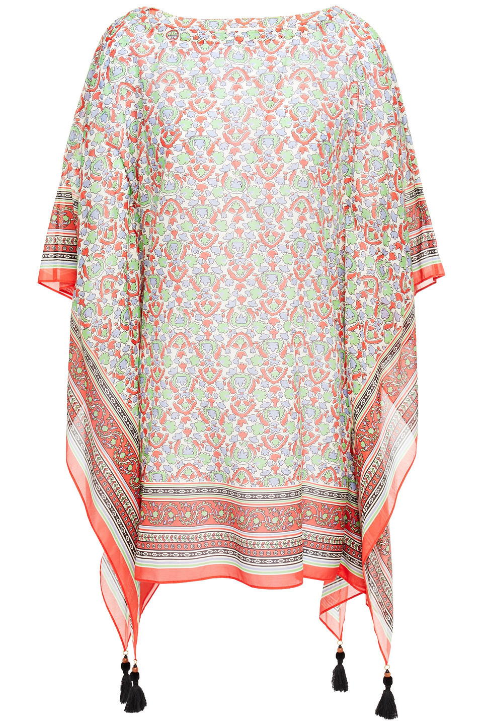Tory Burch | Tory Burch Woman Tassel-trimmed Printed Cotton And Silk-blend Voile Kaftan Orange | Clouty