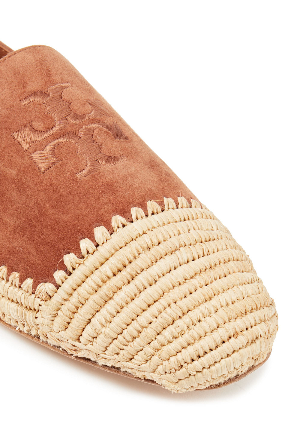 Tory Burch | Tory Burch Woman Arianne Embroidered Suede And Jute Espadrilles Light Brown | Clouty