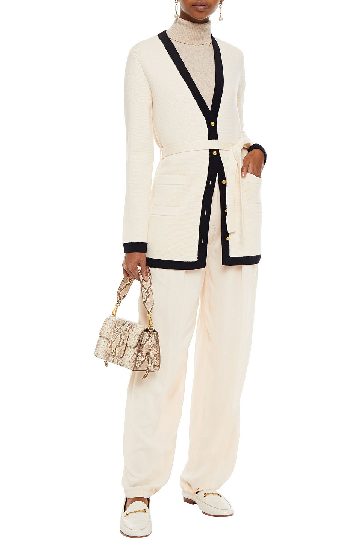 Tory Burch | Tory Burch Woman Sabrina Belted Two-tone Merino Wool Cardigan Ivory | Clouty