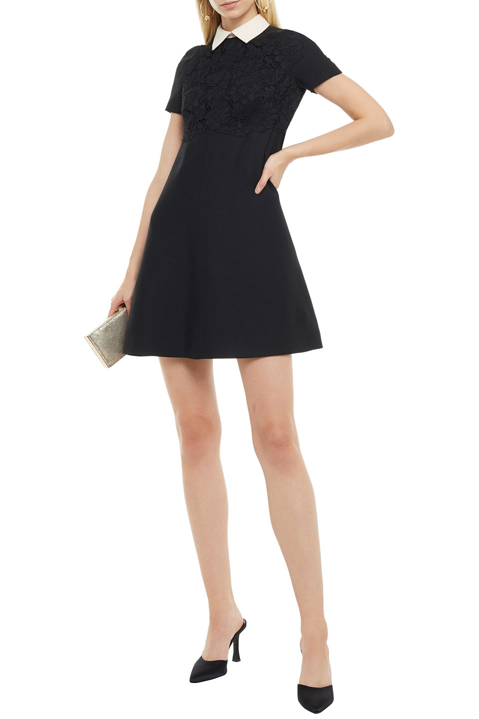 VALENTINO | Valentino Woman Broderie Anglaise-paneled Wool And Silk-blend Crepe Mini Dress Black | Clouty
