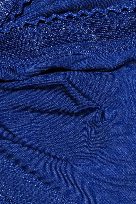 Maison Lejaby | Maison Lejaby Woman Lace-trimmed Stretch-micro Modal Soft-cup Triangle Bra Royal Blue | Clouty