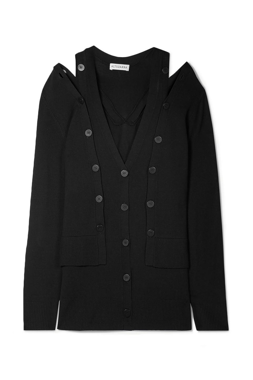 Altuzarra | Altuzarra Woman Tramonti Layered Merino Wool Cardigan Black | Clouty