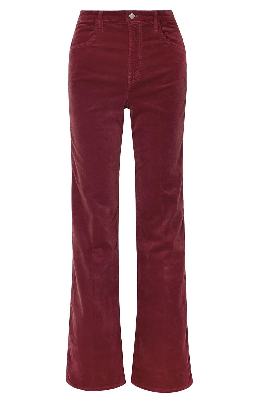 J Brand   J Brand Woman Stretch-velvet Wide-leg Pants Claret   Clouty