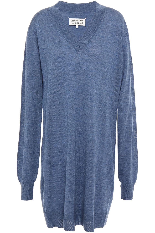 Maison Margiela | Maison Margiela Woman Melange Wool Mini Dress Slate Blue | Clouty