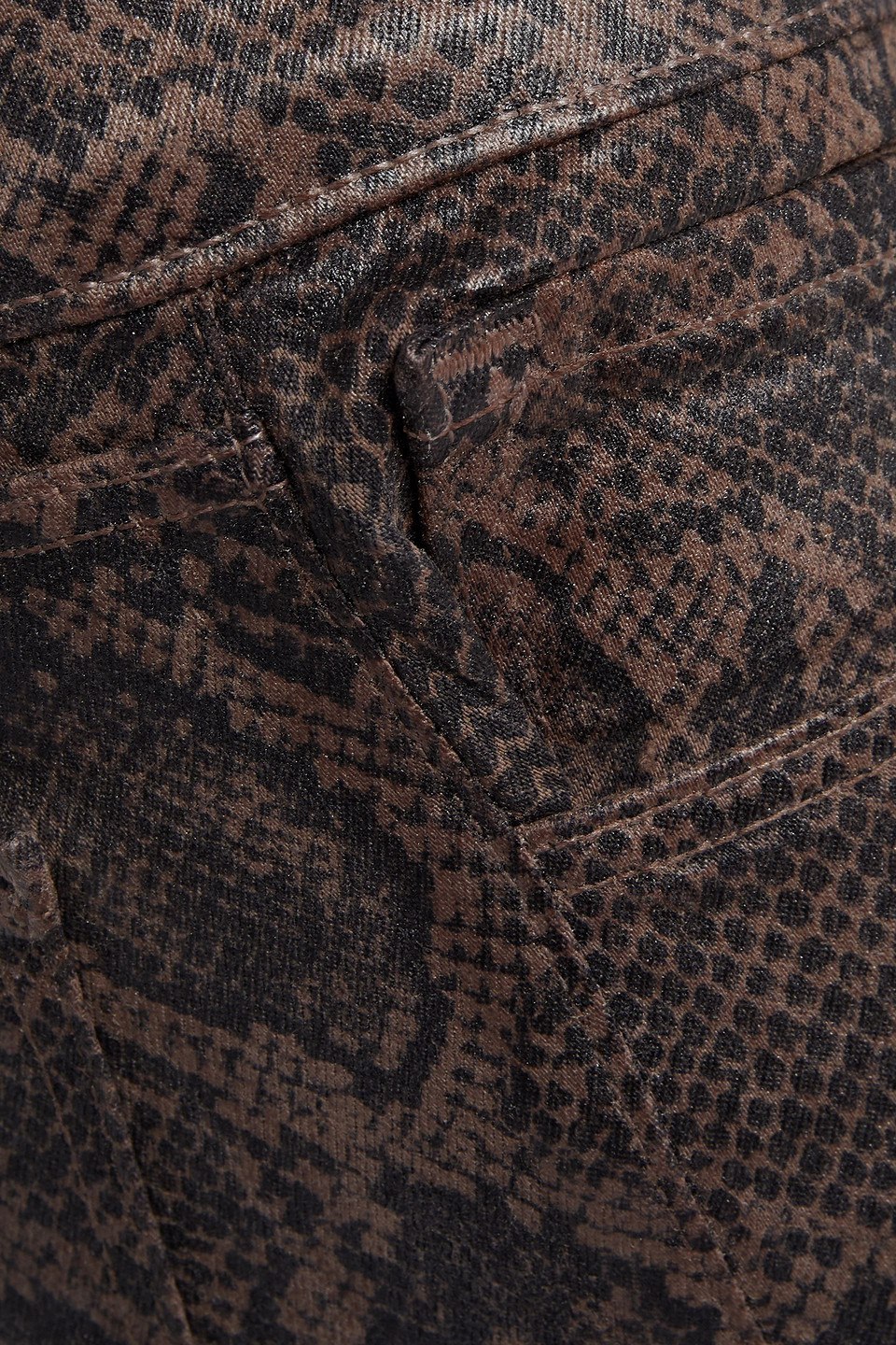 J Brand | J Brand Woman Selena Cropped Coated Snake-print Mid-rise Bootcut Jeans Light Brown | Clouty