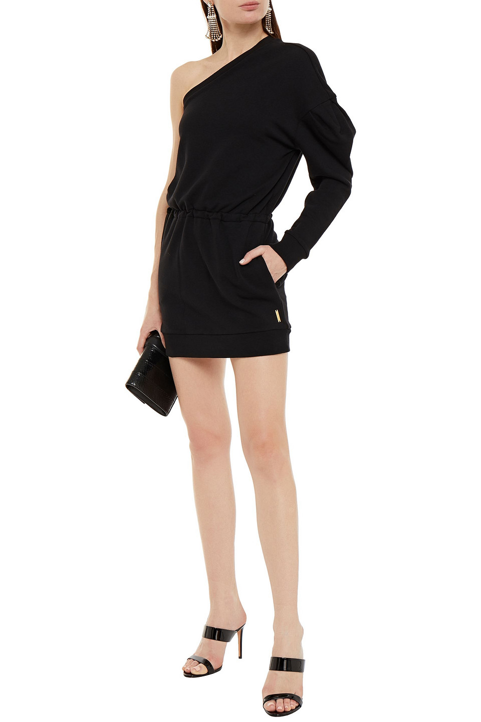 Alexandre Vauthier | Alexandre Vauthier Woman One-shoulder Gathered French Cotton-terry Mini Dress Black | Clouty