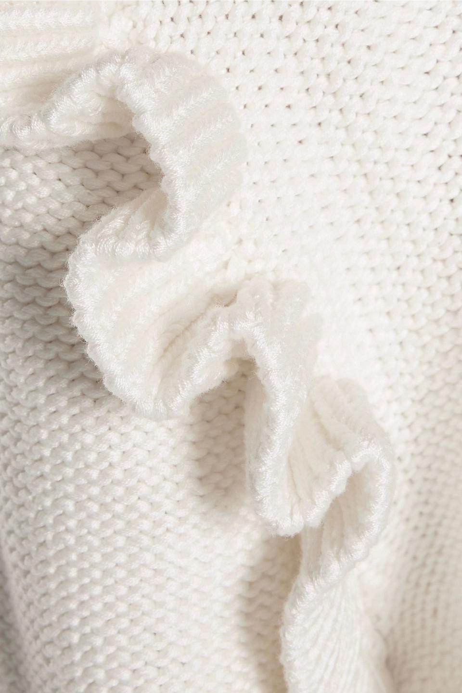 Stella McCartney | Stella Mccartney Woman Ruffled Lace-paneled Cotton Sweater Ivory | Clouty