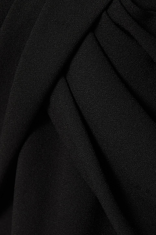 SAINT LAURENT   Saint Laurent Woman Draped Crepe Mini Dress Black   Clouty