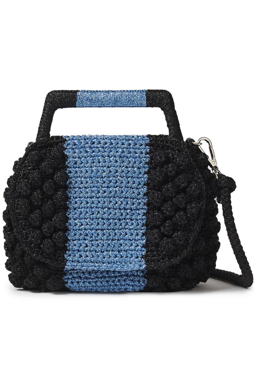 M Missoni | M Missoni Woman Pompom-embellished Metallic Crocheted Tote Black | Clouty