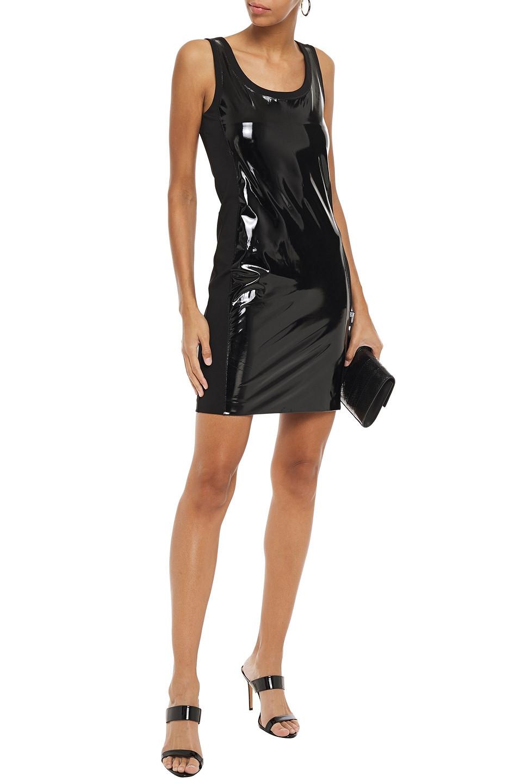 Love Moschino | Love Moschino Woman Vinyl-paneled Jersey Mini Dress Black | Clouty