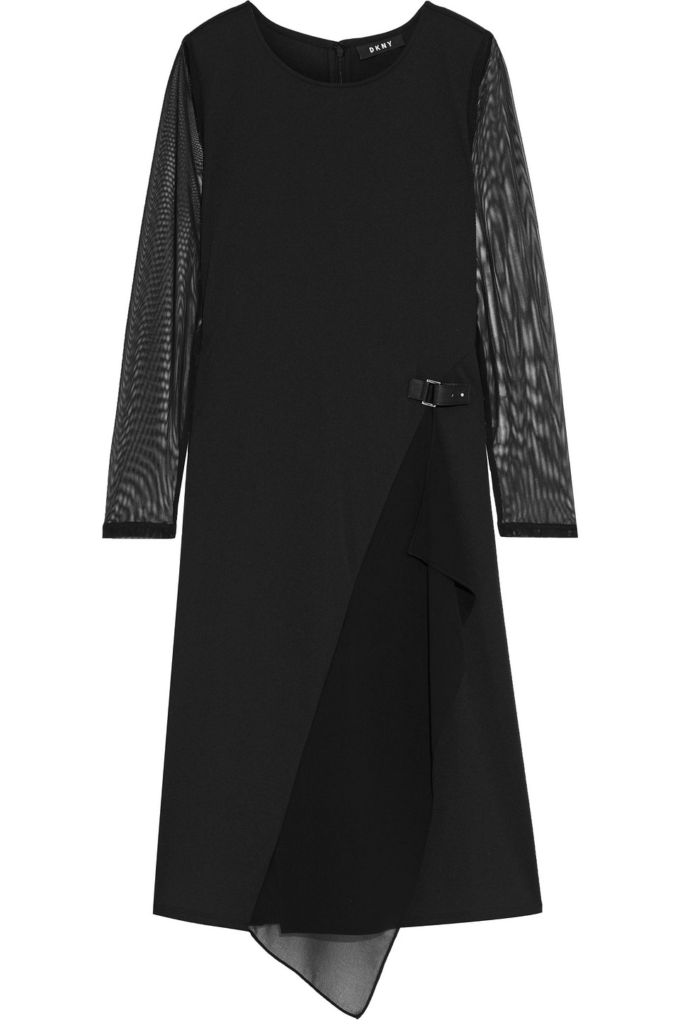 DKNY | Dkny Woman Tulle And Georgette-paneled Jersey Dress Black | Clouty