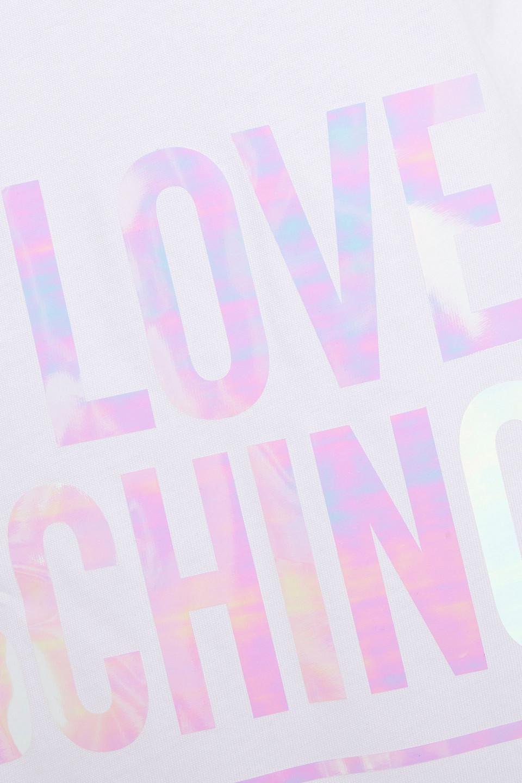 Love Moschino | Love Moschino Woman Iridescent Printed Cotton-jersey Mini Dress White | Clouty