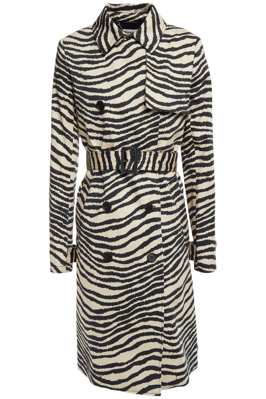 By Malene Birger   By Malene Birger Woman Zebra-print Stretch-cotton Poplin Trench Coat Animal Print   Clouty