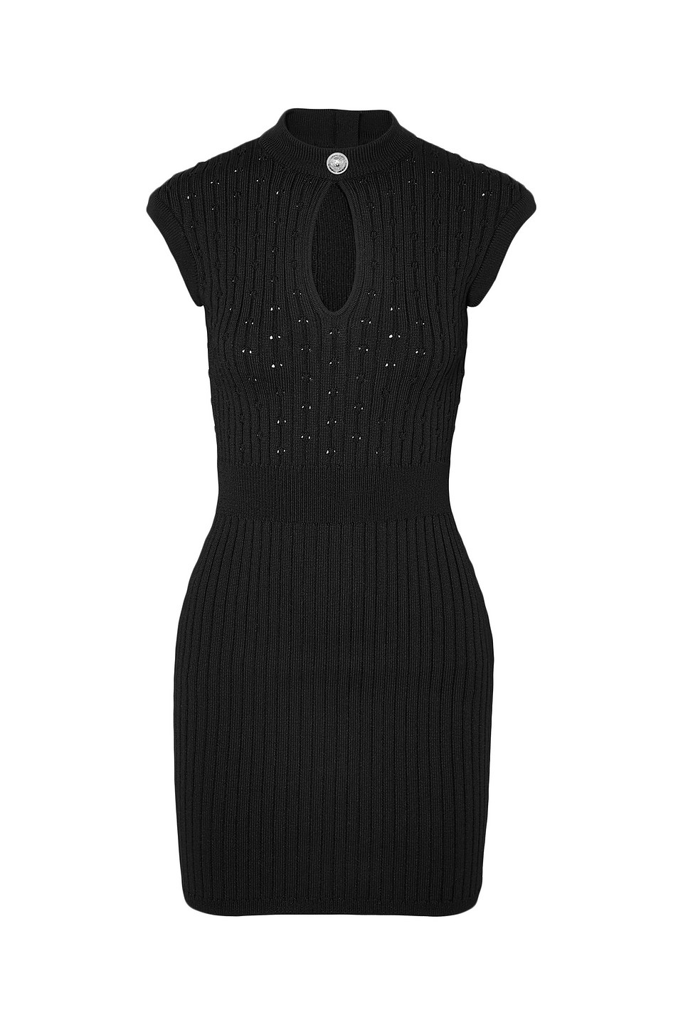 BALMAIN | Balmain Woman Cutout Ribbed And Pointelle-knit Mini Dress Black | Clouty